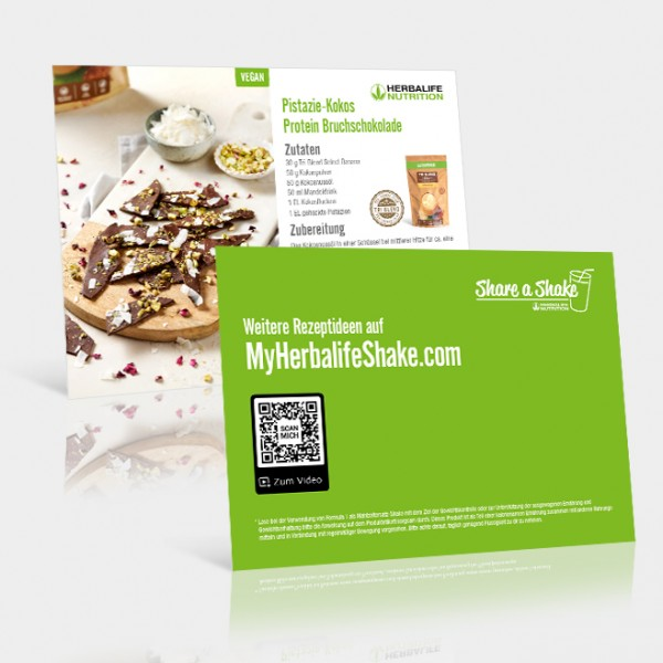 Rezeptkarten Pistazie-Kokos Protein Bruchschokolade - 25 Stück