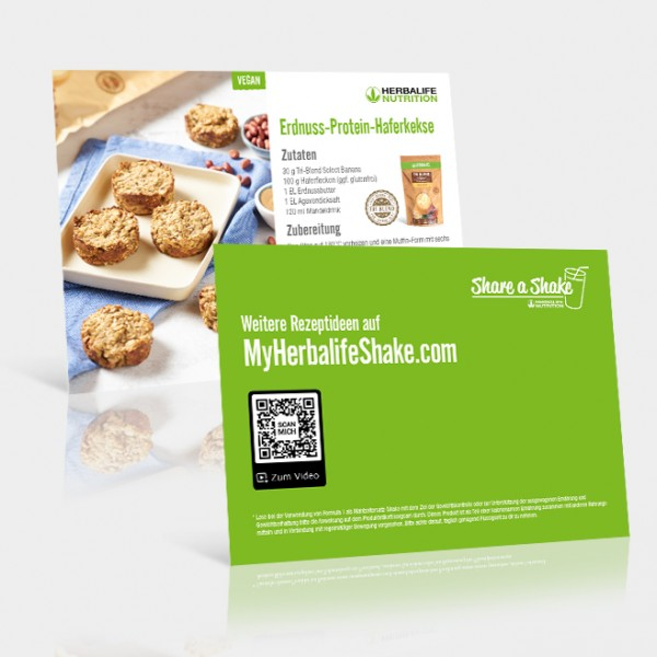 Rezeptkarten Erdnuss-Protein-Haferkekse - 25 Stück